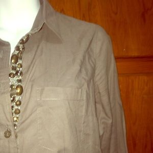 Gray Button Up with Jewels